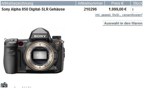 Sony A850 Listing