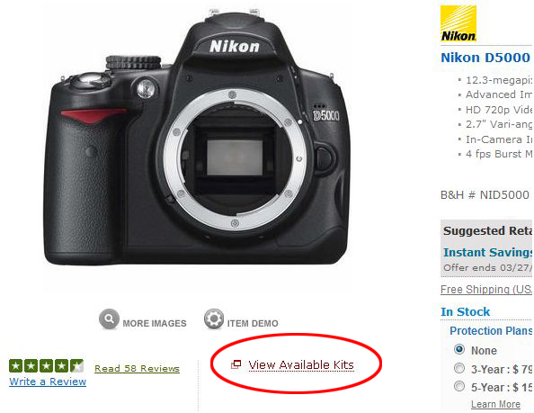 Nikon D5000 at BH Photo