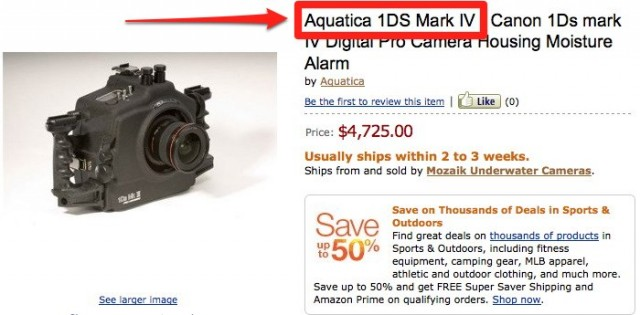 Aquatica Canon 1Ds Mark IV Listing on Amazon