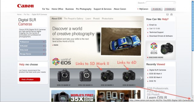 Canon 6D on Canon Australia's Site