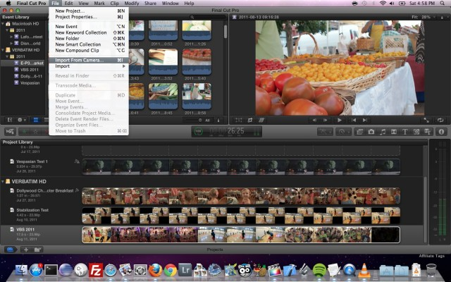 FCP X Import from Camera File Menu