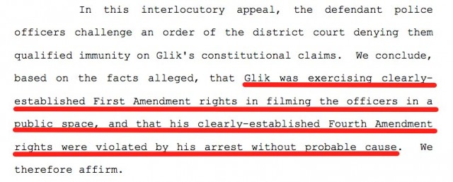 Glik First Amendment Rights Case