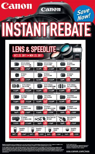 Canon Instant Rebates Fall 2011