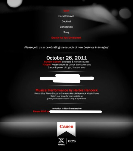 Canon Legends in Imaging Invite