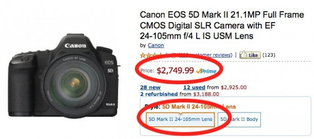 5D Mark II on Amazon