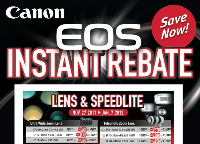 Canon EOS Lens and Flash Fall Winter Instant Rebate