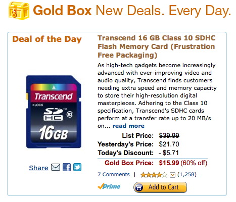 Transcend SDHC Card Deal