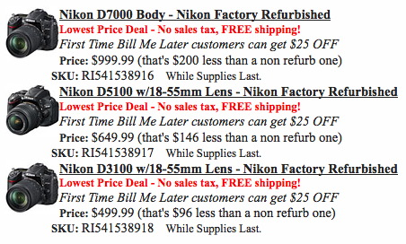 Nikon D3100, D5100, D7000 Refurbished