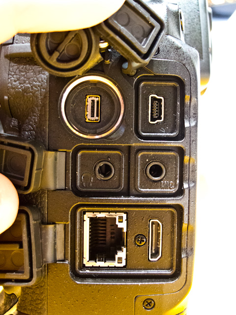 Nikon D4 Headphone Jack and HDMI-Out