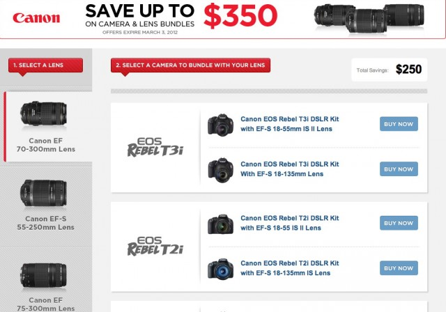 Canon DSLR and Lens Rebates