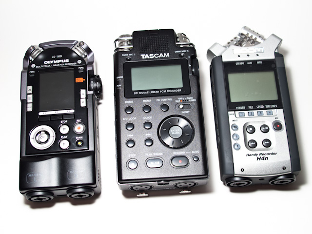 Zoom H4n, Tascam DR-100 MkII &amp; Olympus LS-100