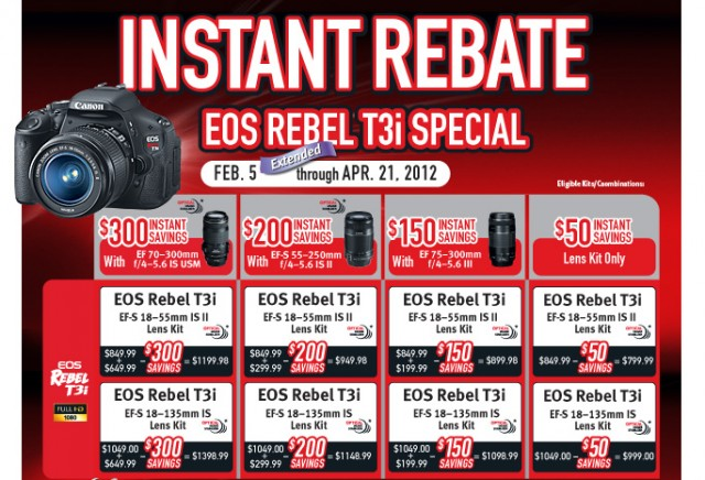 Canon Rebel T3i Instant Rebates