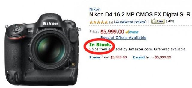 Nikon D4 In Stock
