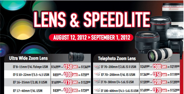 Canon Lens and Speedlite Instant Rebates