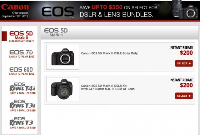 Canon DSLR Instant Rebate