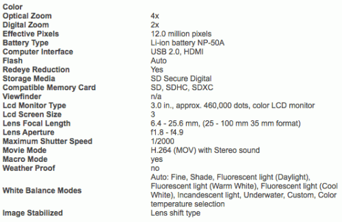 Fuji-FX1-specifications