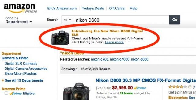 Nikon D600 on Amazon