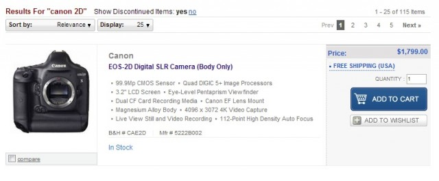 Canon 2D Listing