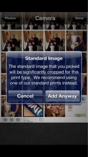 PostalPix Camera Roll Interface