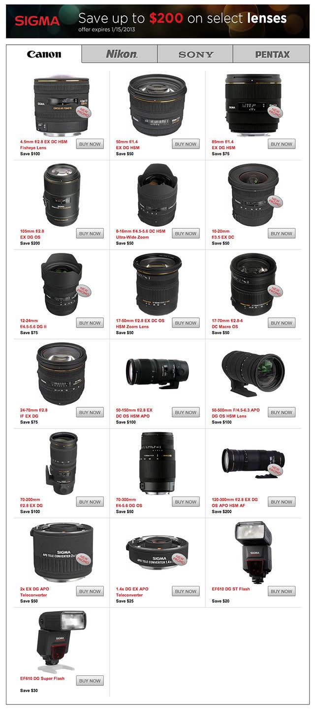 Sigma Lens Rebate