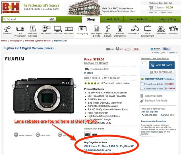 Fuji Lens Rebates at BH Photo