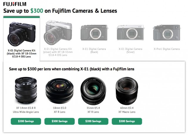 Fuji X-E1 and X-Pro1 Combo Deals