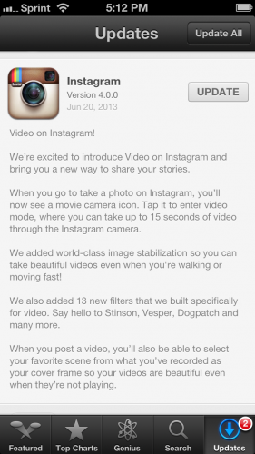 Instagram Video Update