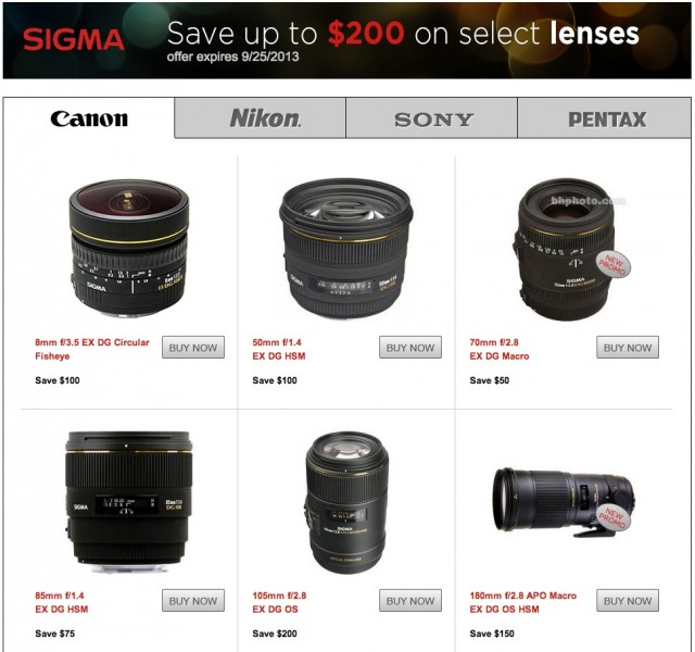 Sigma Lens Rebates Summer 2013