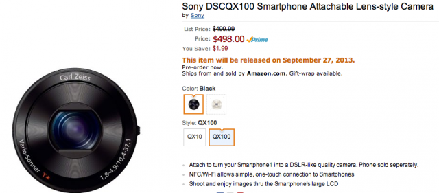 Sony QX100 on Amazon