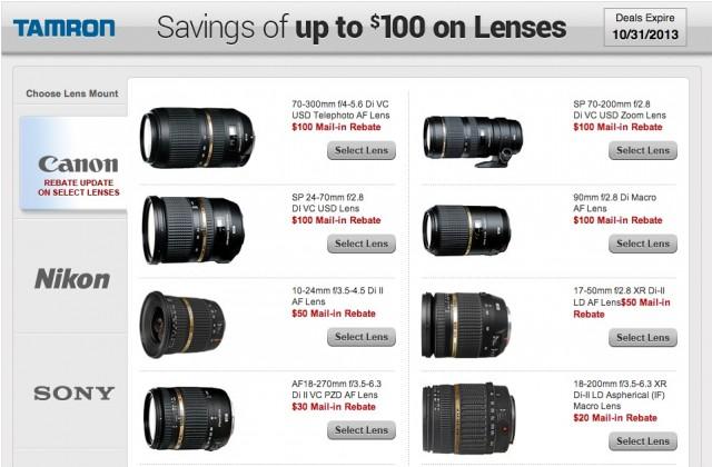 Tamron Lens Rebates October 2013