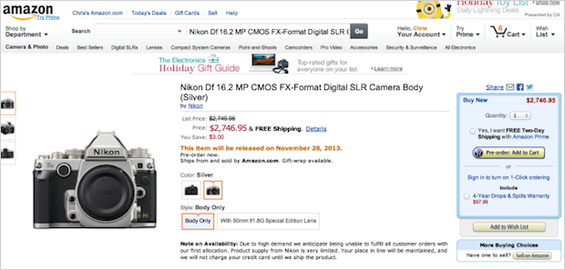 Nikon Df on Amazon