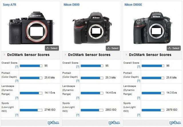 Sony A7R vs Nikon D800 and D800E
