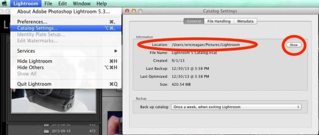 change lightroom catalog location mac
