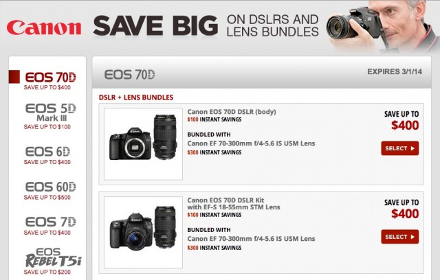Canon Instant Rebates Winter 2014