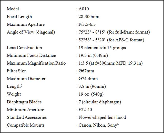 Tamron 28-300 Specs