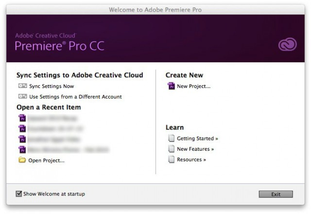 Adobe Premiere Pro Welcome Screen