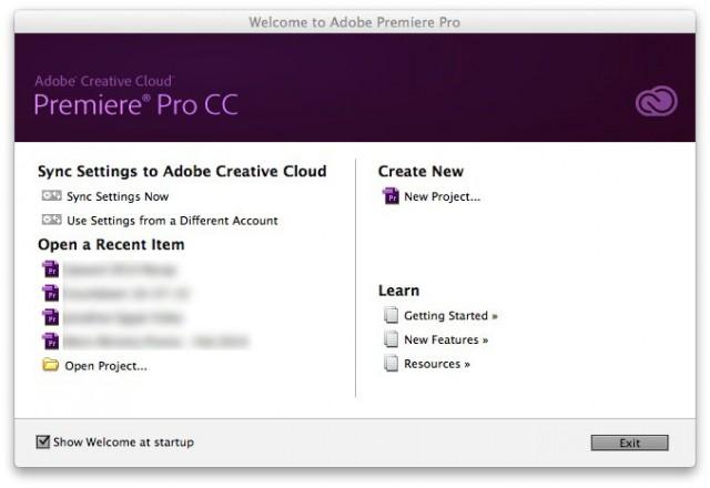 Adobe Premiere Pro Welcome Screen
