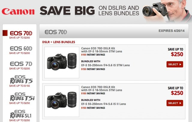 Canon DSLR Rebates April 2014