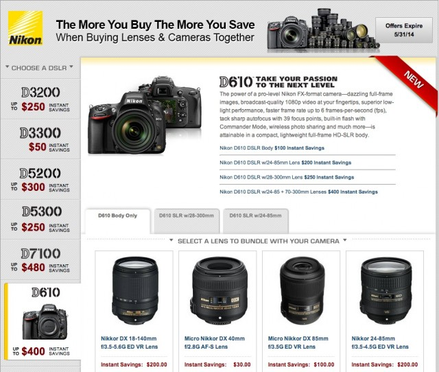 Nikon Bundle Rebates Spring 2014