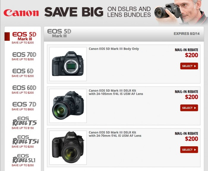 Canon DSLR Rebates