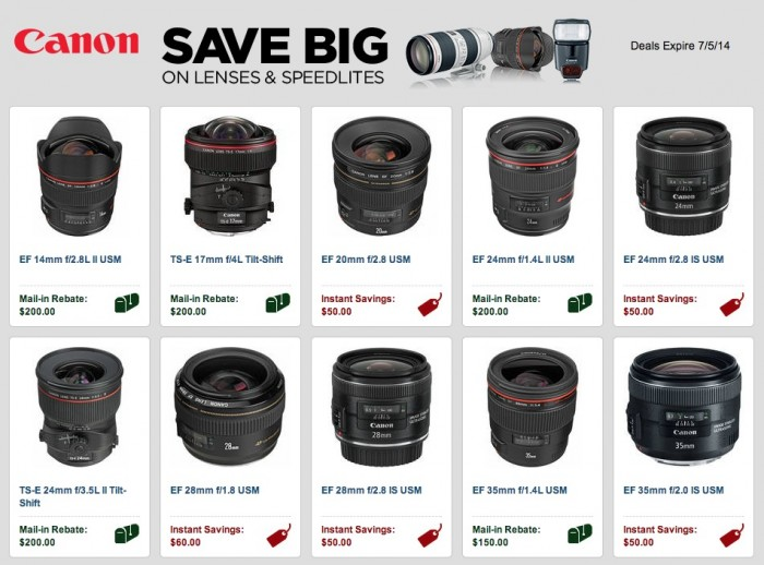Canon Lens and Speedlite Rebates July 2014
