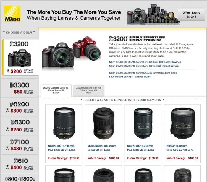 Nikon DSLR Bundle Rebates Aug 2014