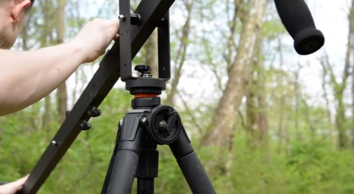 Panning Base Mount Attached to Vanguard Tripod