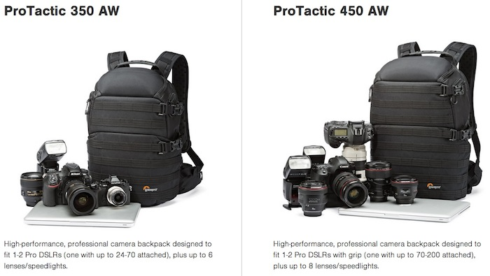 Lowepro ProTactic 350 AW and 450 AW