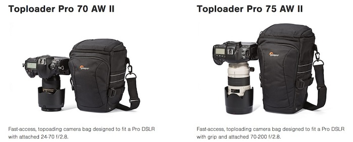 Lowepro Toploader Pro 70 AW II and 75 AW II
