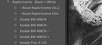 Replichrome BW400CN Preset Variations