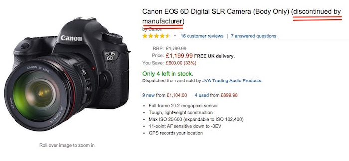 Canon 6D Discontinued