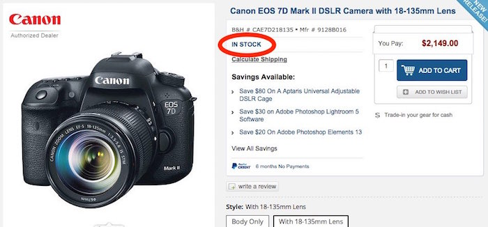 Canon 7D Mark II In Stock
