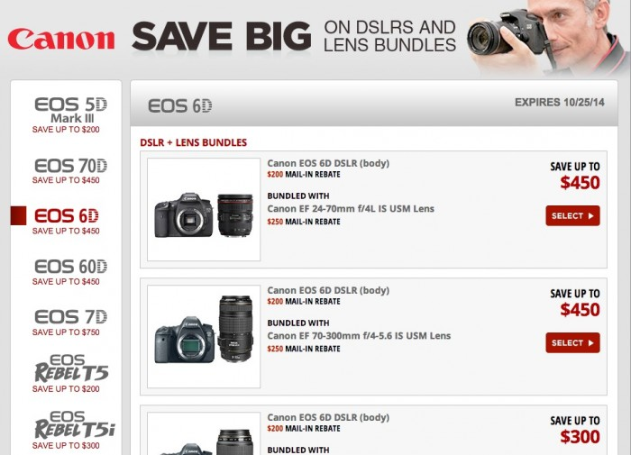 Canon DSLR Lens Bundle Rebates Fall 2014