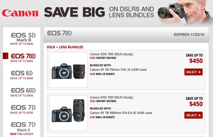Canon DSLR Lens Combo Deals Oct Nov 2014